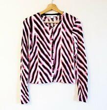 Diane Von Furstenberg Size S Pink Black Cream Print Cotton Silk Knit Cardigan