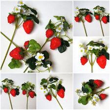 3 St. Erdbeeren Beeren Kunstzweig künstlichen Beerenzweig Kunstblumen Rot L51