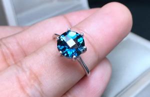 Round Cut 3 Carat Deep Blue Topaz Sterling Silver 925 Handmade Topaz Women Ring