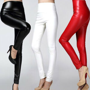 Womens Fashion PU Leather Wet Look Leggings High Waist Stretch Trousers Pants