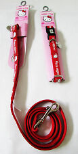 Hello Kitty Discontinued Pet Red Adjustable Collar & Leash SMALL Dog Lot of 2