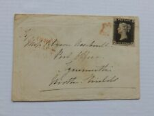 (4342) 1840 PENNY BLACK PLATE 8 (MJ) 4 MARGIN ON COVER WITH RED MALTESE CROSS