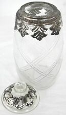Jar Glass And Metal Lidded Leaf Design Vintage Distressd Finish Storage Small