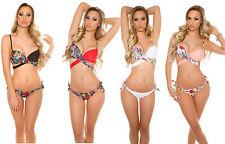 bikini push up 2 pezzi floreale slip doubleface costume mare donna piscina new #