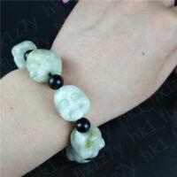 Chinese Natural White Green Jade Maitreya Buddha Beaded Bracelet Charm Jewelry