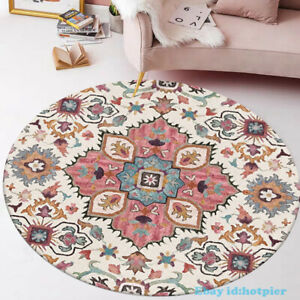 Circular Countryside Flowers Rug Parlor Bedroomnon-slip Bohemia Ethnic Style New