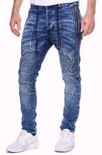 Damen-Biker stonewashed Herren-Jeans mit regular Länge