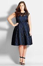 City Chic Lace Neck Brocade Dress (Size XL= 22W)