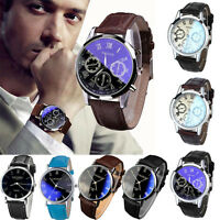 Luxury Fashion Leather Mens Blue Ray Glass Quartz Analog Classic Wrist Watches