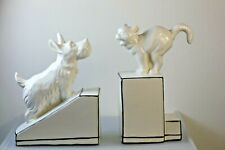 More details for art deco style ceramic bookends cat & dog black & white