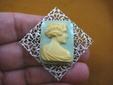 (CM45-23) UNUSUAL ART DECO Style LADY rectangle lt blue ivory CAMEO Pin JEWELRY