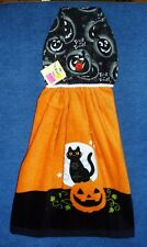 *NEW* Handmade Halloween Pumpkins & Cats Hanging Kitchen Hand Towel #1779