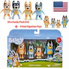 Bluey & Family Toys 4 Pack Figurine Set + 4 Pcs Plush Toys For Children Gift For Sale