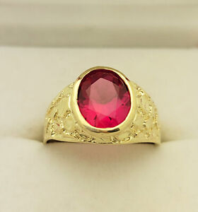 10K Yellow Gold Mens Oval Ruby Ring