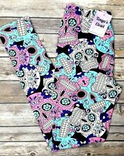 One Size Colorful Candy Sugar Skull Print Leggings OS 2-10 Buttery Soft