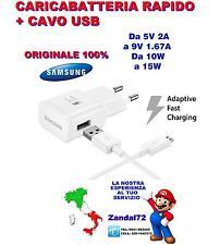 CARICA BATTERIA RAPIDO ORIGINALE SAMSUNG + CAVO USB GALAXY S6 S7 NOTE 5 VELOCE