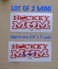 Hockey Mom With Heart And Band Aid Lot Of 2 Mini Window Decal Car Vinyl  Sticker