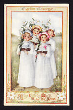 Easter-Mary La Fetra Russell-Girl Choir-Singing-Children-Lily-Antique Postcard