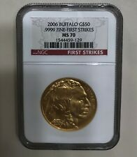 2006 American Gold Buffalo 1 oz $50-NGC MS70 First Strikes.9999 fine-debut issue
