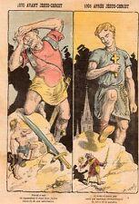 DESSIN SATIRIQUE POLITIQUE LEMOT 1905 APRES JC DAVID ET GOLIATH COMPARAISON