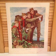 """BSA True Vintage NORMAN ROCKWELL Print Boy Scouts """"Pointing The Way"""" Red Letters"""