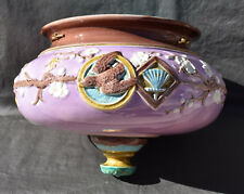 JARDINIERE SUSPENSION BARBOTINE  POLYCHROME FRENCH MAJOLICA 19 eme JAPONISANT