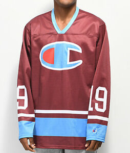 Champion Berry Barry Long Long Sleeve Hockey Jersey Small Dark Red