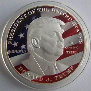 Donald Trump / USA / 45. PRÄSIDENT - MIT FARBE - MEDAILLE - SILBER AUFLAGE - PP