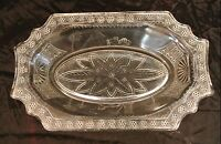 Vintage Glass Relish Dish with Egyptian Design. Display Tray, Candy Bowl, Decor