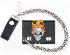 SKULL HEAD FLAMES TRIFOLD BIKER WALLET W CHAIN mens LEATHER #581 fire skulls NEW