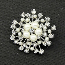 Pearl Rhinestone Crystal Vintage Flower Brooch Pin Brooches For Women Gift Pop