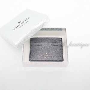 NWT Kate Spade WLR00214 Boxed Small Slim Card Case Holder Lola Glitter Dusk Navy
