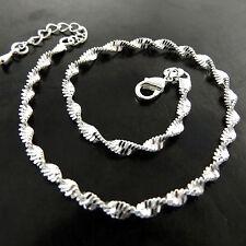Anklet Bracelet Real 925 Sterling Silver S/F Solid Snake Link Design 25cm