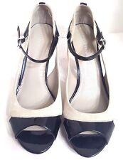 Franco Sarto Sulu Black Grey Leather Heels, Women Size 9M EUC