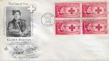 U.S. 1948 C. Barton RED CROSS Founder Scott #967 Blk 4 on an ArtCraft FDC Cachet