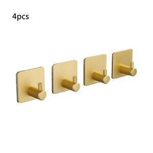 4pcs Adhesive Hooks Heavy Duty Wall Hooks Stainless Steel Hooks Hanging Coat