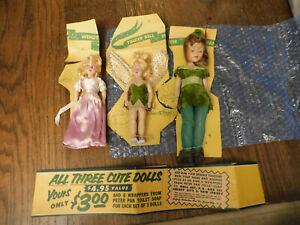 Vtg RARE Lot Peter Pan Tinkerbell Wendy Dolls Sleepy Eyes Dolls set on card 1953