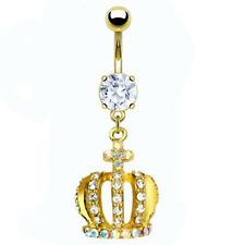 Piercing de Ombligo Joyería TAPONES Ombligo Anillo Cristal Corona Chapado en oro