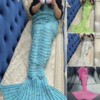 Mermaid Tail Handmade Crocheted Sofa Cocoon Quilt Rug Knit Lapghan Soft Blanket