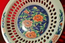 LATTICE BOWL antique japanese fine porcelain art pottery bird flower mid century