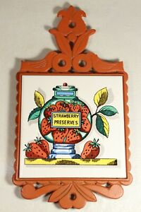 Vintage Strawberry Preserves Ceramic Tile Orange-Painted Cast Iron Trivet Japan