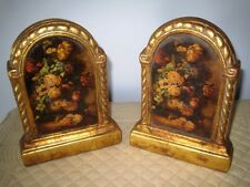 Antique Italian Florentine Style Gold Still Life Tole Floral 1940's Bookends