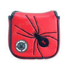 19th Hole Custom Shop Red High-Moi Mallet Putter Head Cover, Black Widow Spider