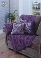 KNITTING PATTERN Cushion Covers & Cable Throw Super Chunky King Cole 4873