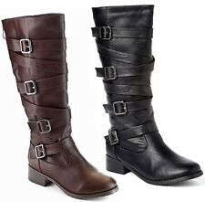 New Women EGr1 Brown Black Buckle Straps Riding Knee High Cowboy Boots