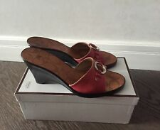 Coach WEDGE Womens pink leather Sandals sz 7.5 made in Italy
