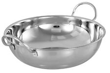 5 X 17CM STAINLESS STEEL INDIAN BALTI KARAHI METAL CURRY SERVING TABLE DISHES