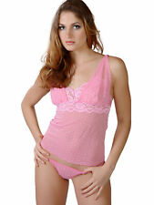 Flirtzy Pink Polka Dot Cute Mesh with Lace Trim Sheer Top and Thong Set