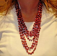 Vintage Cranberry Beaded Festoon Necklace