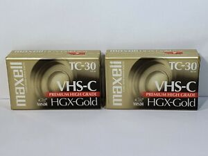 Maxell TC-30 VHS-C Premium High Grade HGX-Gold Camcorder Tapes (2) New NOS